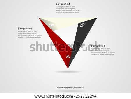 Illustration with triangle motif infographic consists of three colored parts with simple signs and with space for own text on light background - stock vector