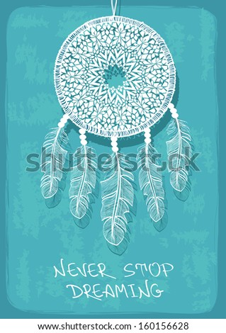 Illustration with tribal native American Indian dreamcatcher - stock vector