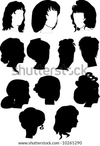 illustration with twelve woman hairstyles