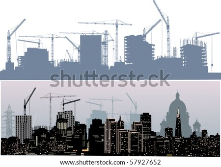illustration with two cities silhouettes isolated on white background - stock vector