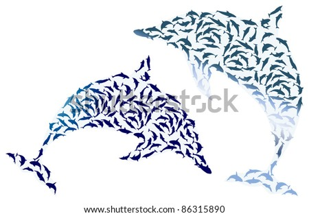 illustration with two complex dolphin silhouettes isolated on white background - stock vector