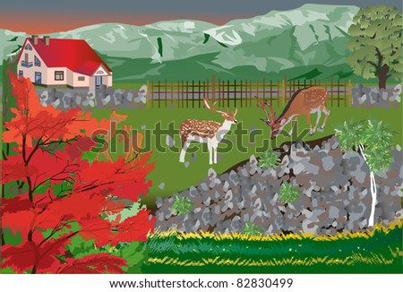 illustration with two deers near cottage - stock vector