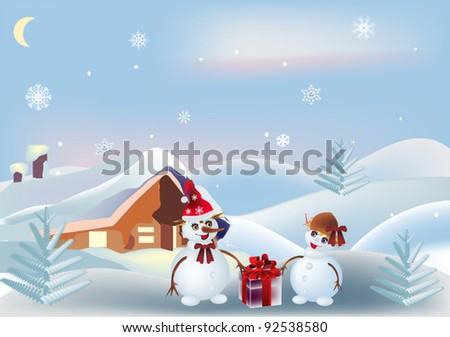 illustration with two snowmen near small house - stock vector