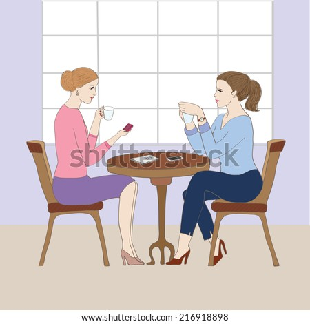 Illustration with two women at the coffee shop.