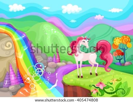 illustration with unicorn - stock vector