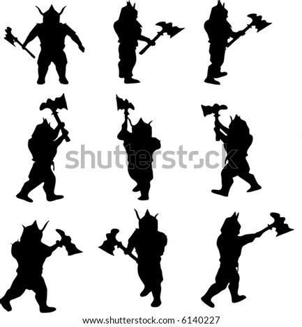 illustration with viking silhouettes collection isolated on white background - stock vector