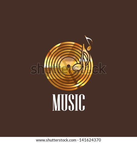 illustration with vinyl disc icon - stock vector