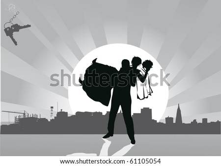 illustration with wedding couple silhouette in city