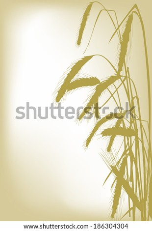 illustration with wheat silhouettes on golden background