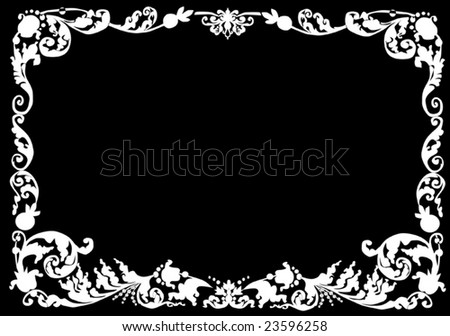illustration with white curled frame - stock vector
