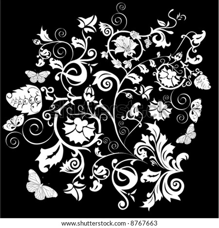 illustration with white ornament on black background