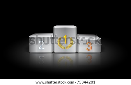 illustration with white prize podium in the dark - stock vector