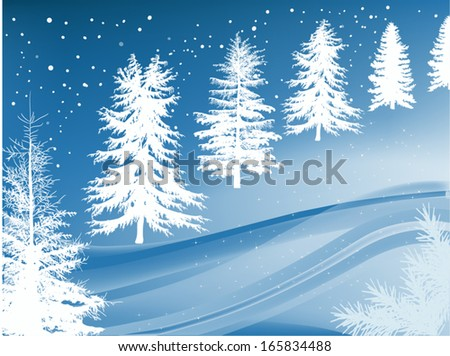 illustration with winter trees in snow