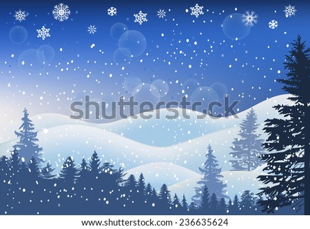 illustration with winter trees in snow - stock vector