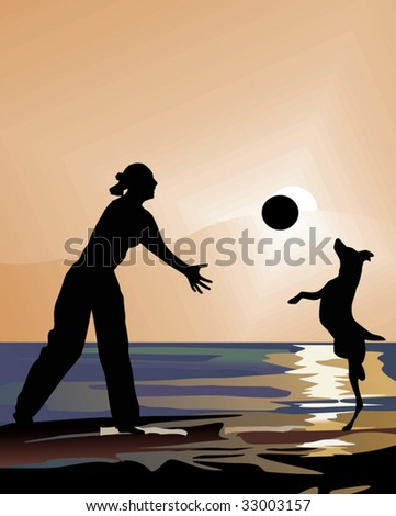 illustration with woman and dog playing at sunset - stock vector