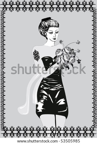 illustration with woman and flowers in frame