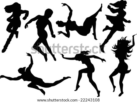 illustration with women silhouettes in motion