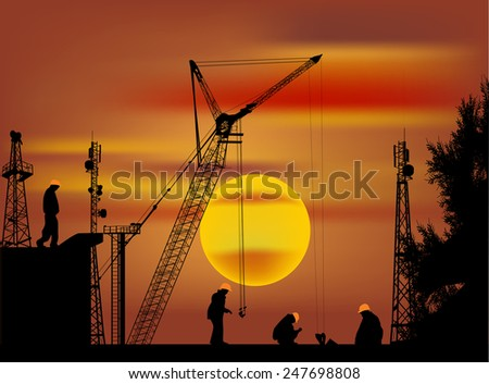 illustration with workers and house building at orange sunset - stock vector