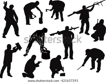 illustration with workers isolated on white background