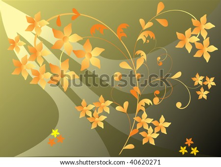 illustration with yellow flowers on green background