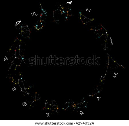illustration with zodiac constellations isolated on black background - stock vector