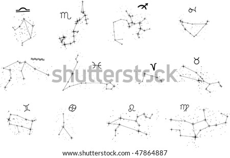 illustration with zodiac constellations isolated on white background - stock vector