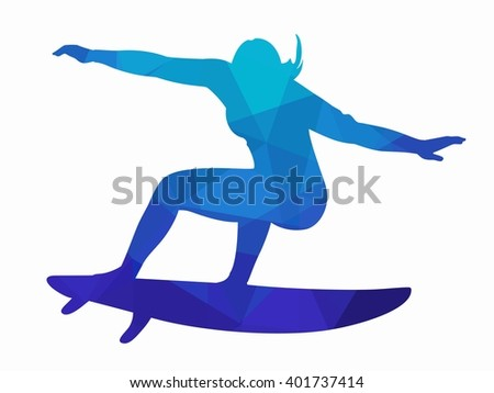 illustration woman surfer , blue triangles drawing on a white background - stock vector