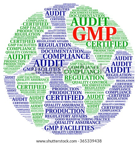 Illustration word cloud with concept of Good Manufacturing GMP Practice. - stock vector