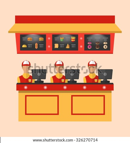 Illustration Workers with Cash Register in Cafe with Fast Food - Vector - stock vector