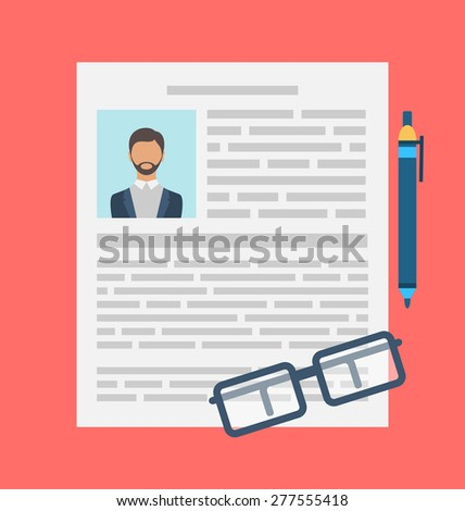Illustration Writing a Business CV Resume Concept, Flat icon of Document, Pen, Glasses - Vector - stock vector
