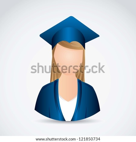 Illustration young lady graduating with mortarboard, vector illustration - stock vector