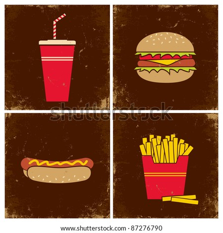 Illustrations cola, a hamburger, french fries and hot dogs - stock vector