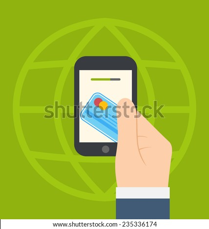 Illustrations concept of contactless credit card payment via modern communication technology, flat modern design style - vector - stock vector
