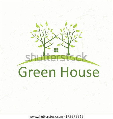 Illustrations house with trees in the style of negative space - stock vector