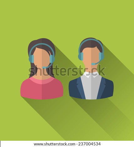Illustrations icons of male and female avatars for operators call center or support service, modern flat style with long shadows - vector - stock vector