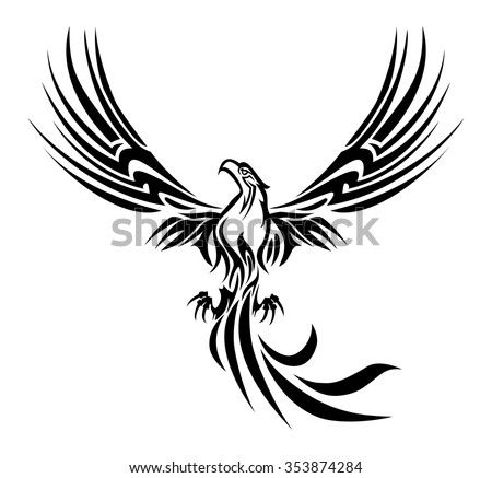 illustrations of a concept myth bird phoenix rising from the ashes tattoo on isolated white background - stock vector
