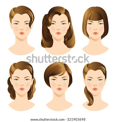 illustrations of beautiful young girls with various hair styles. Collection of woman face. - stock vector