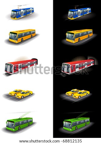 Illustrations of city public transport: bus, tram, taxi, subway, trolleybus.