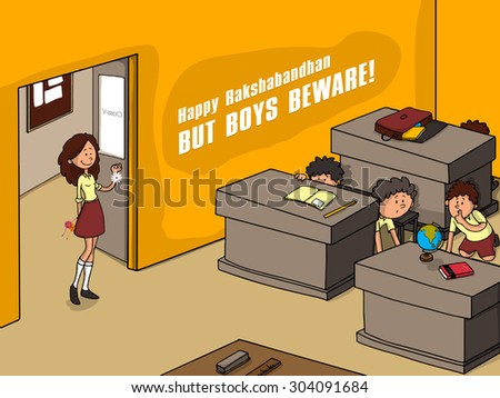 Illustrations of classroom in India on the day of Raksha Bandhan, festival of sister and brother love.  - stock vector