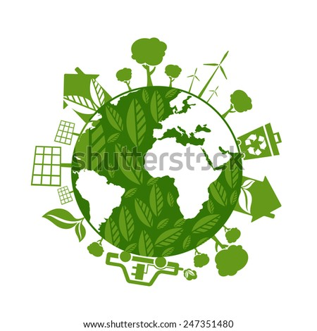 Illustrations of concept earth with icons of ecology, environment, green energy. Vector  - stock vector
