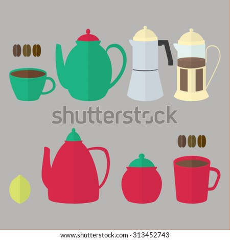 Illustrations of different kinds pots and cups for tea or coffee.