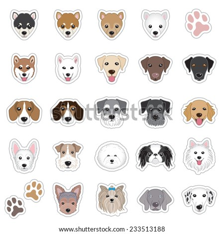 Illustrations of dog face - stock vector
