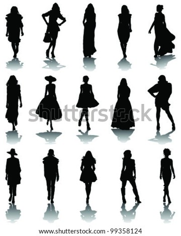 Illustrations of fashion, silhouettes and shadows-vector - stock vector