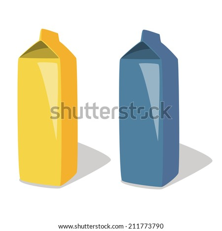 Illustrations of milk box, packet