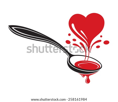 illustrations of spoon and heart - stock vector