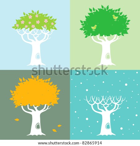 Illustrations of the tree in different seasons in the spring, summer, autumn and winter - stock vector