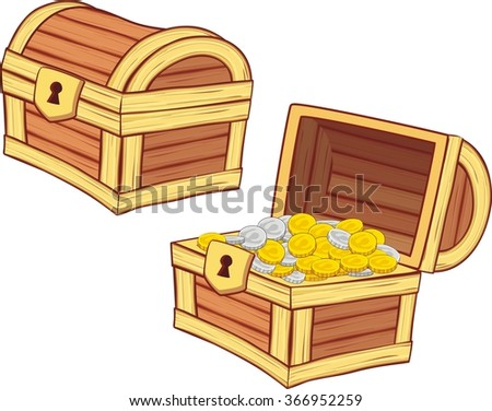 Illustrations Treasure Chest Open Closed Golden Stock ...