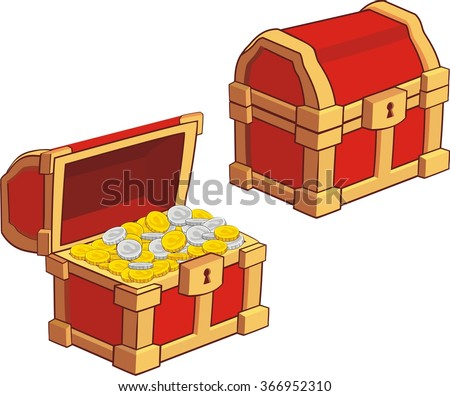 illustrations of treasure chest, open, closed and with golden coins isolated on white