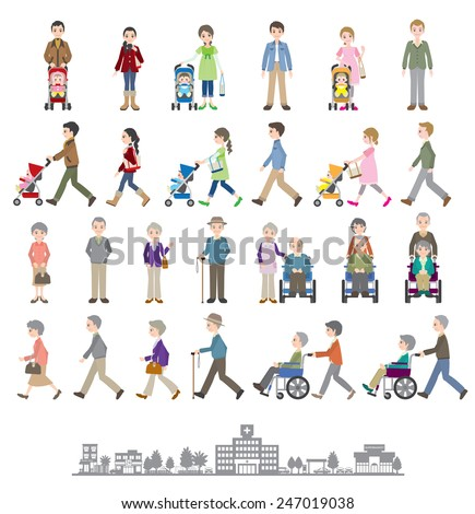 Illustrations of various people / Family - stock vector