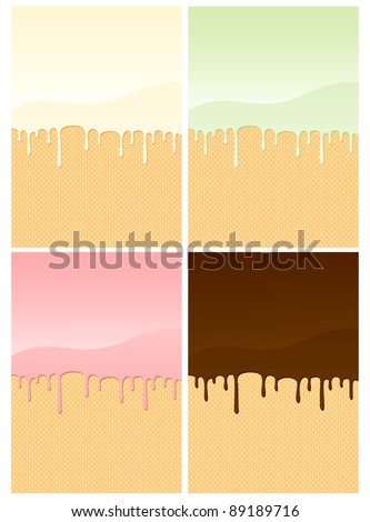 Illustrations of wafers coated with different creams - stock vector